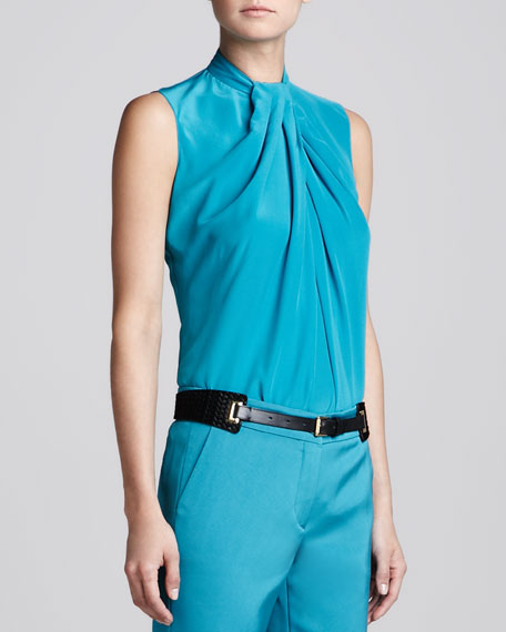 Sleeveless Knot-Detail Blouse