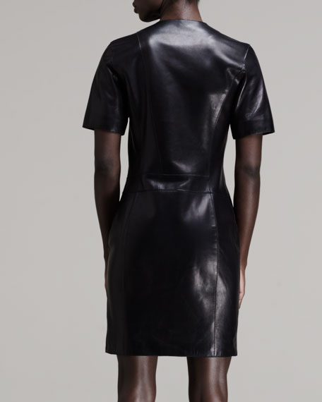 Zip-Front Leather Dress