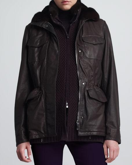 Traveler Chinchilla-Trim Leather Safari Jacket