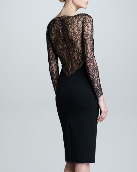 Lace Long-Sleeve Jersey Dress, Black