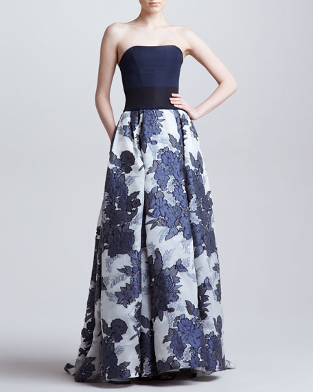 Floral Jacquard Organza Strapless Gown, Blue