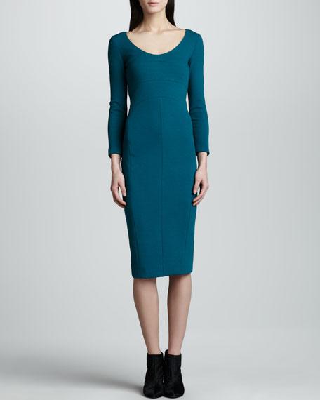 Pebble Crepe Jersey Dress, Peacock