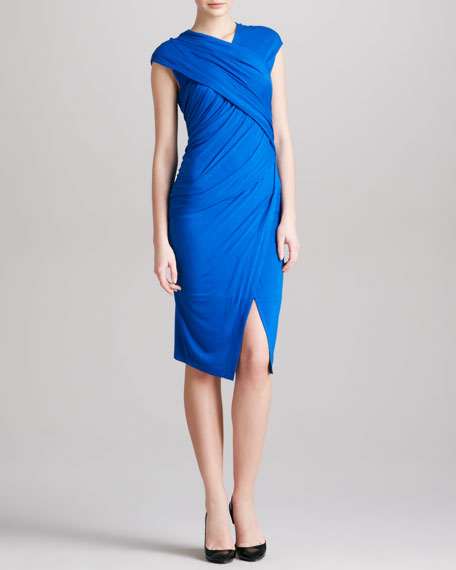 Cap-Sleeve Draped Jersey Envelope Dress, Blue