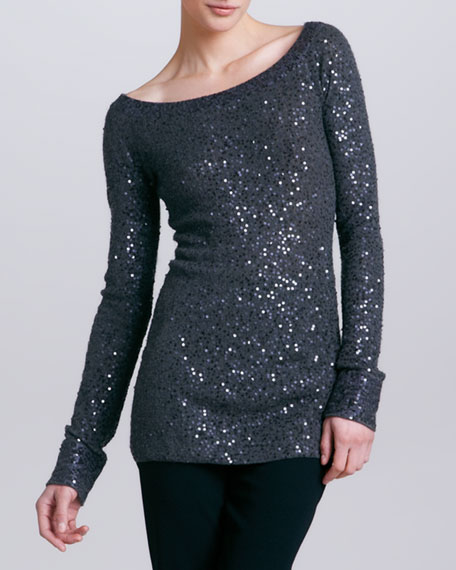 Wide-Neck Sequined Cashmere Blend Tunic, Steel