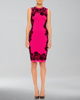 Michael Kors  Lace-Print Cashmere Dress