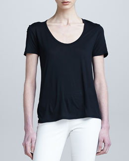 THE ROW Short-Sleeve Classic Scoop-Neck Tee, Black