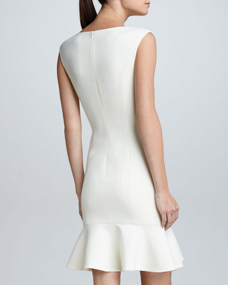 Ruffled Cap-Sleeve Crepe Dress, Vintage Cream