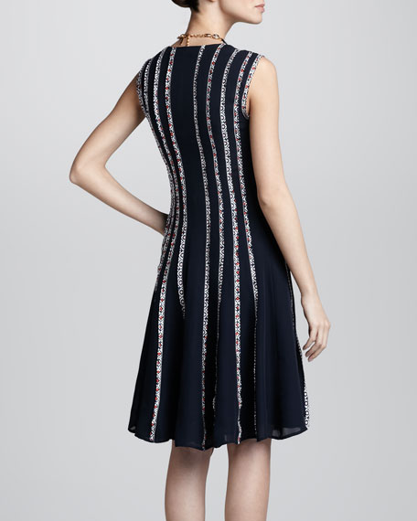 Sleeveless Floral-Strip Dress, Navy
