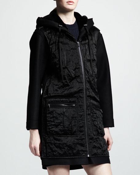 Mixed Media Fur/Satin Hooded Coat