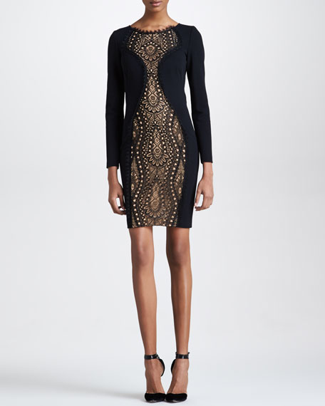 Lace-Center Long-Sleeve Dress, Black