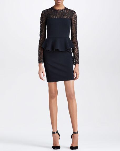 Punto Milano Peplum Lace-Yoke Dress