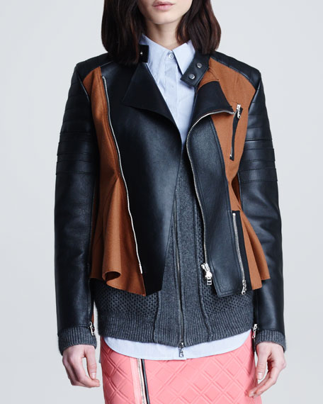 Motorcycle Peplum Jacket, Cinnamon/Black