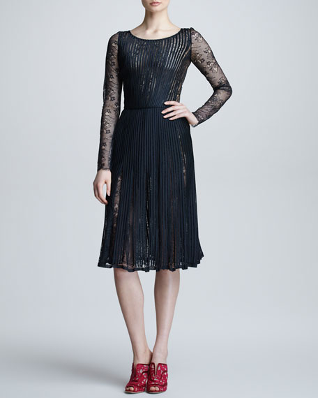 Plisse Chantilly Lace Dress, Black
