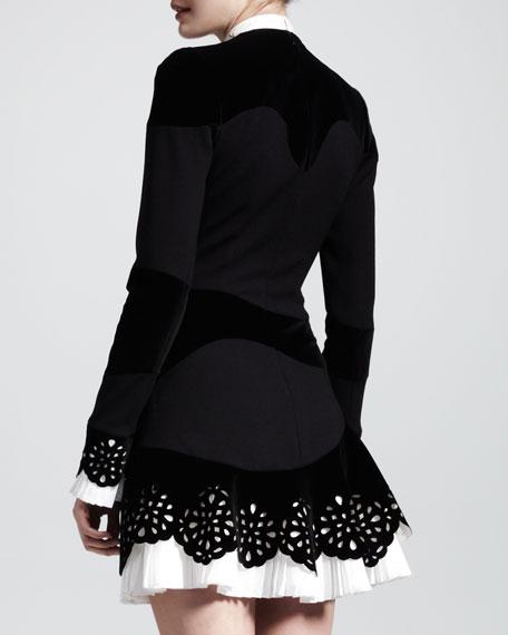 Pleated-Trim Cutout Dress
