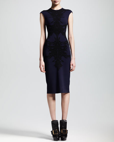 Spine Intarsia-Knit Flounce Dress, Navy/Black