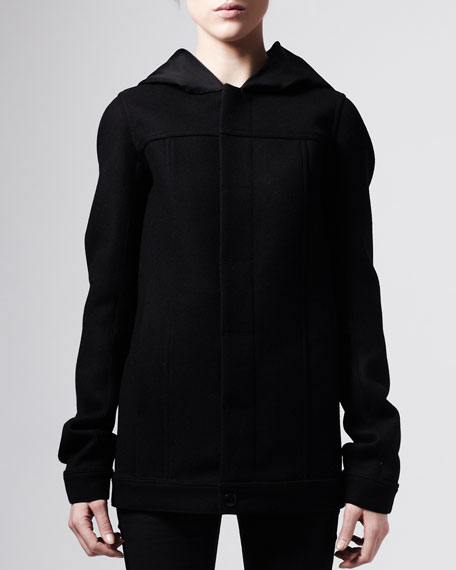 Hooded Bomber Coat, Black