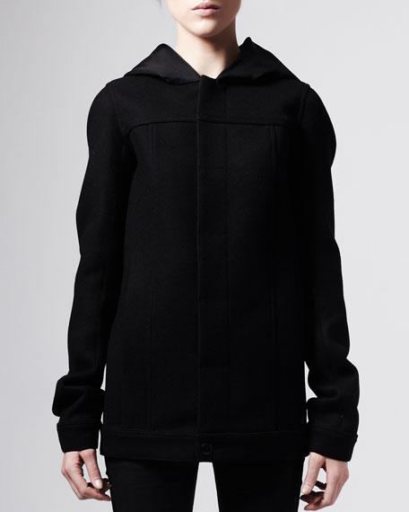 Hooded Bomber Coat, Black
