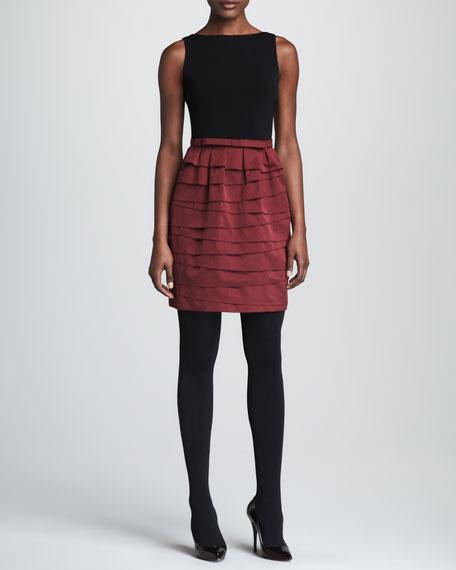 Paule Ka Bi-Color & Bi-Fabric Dress