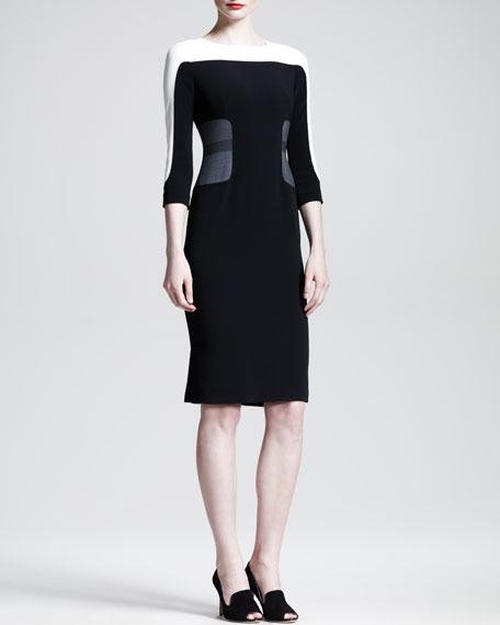 Tri-Tone Colorblock 3/4-Sleeve Dress