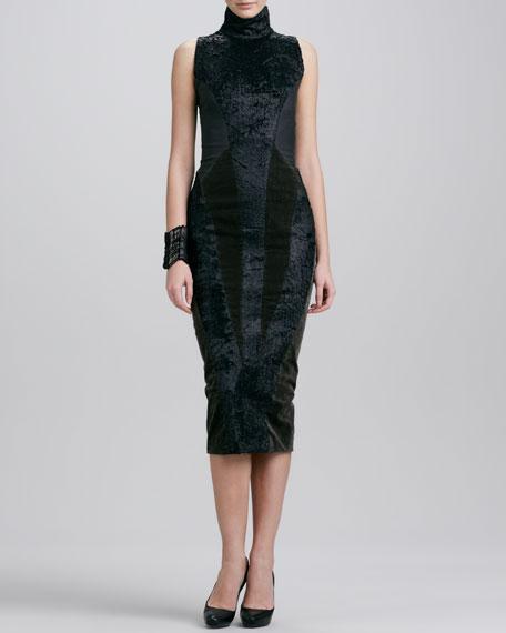 Sleeveless Turtleneck Collage Dress, Black