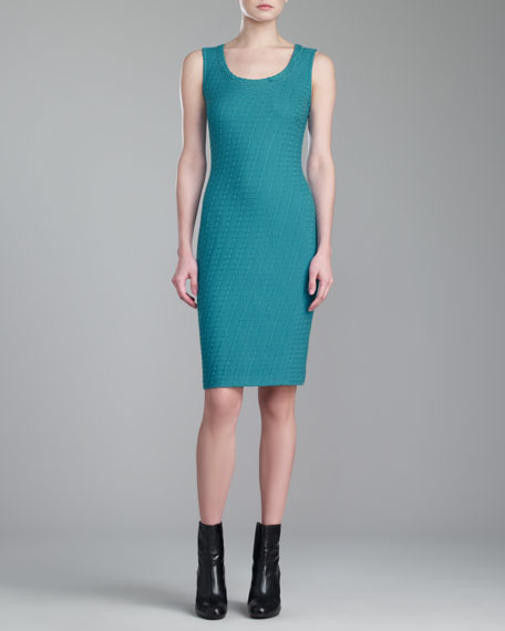 St. John Collection Box Knit Dress, Teal
