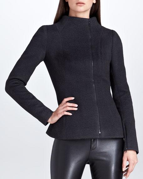 Karolina Zmarlak Asymmetric Zip Jacket, Charcoal