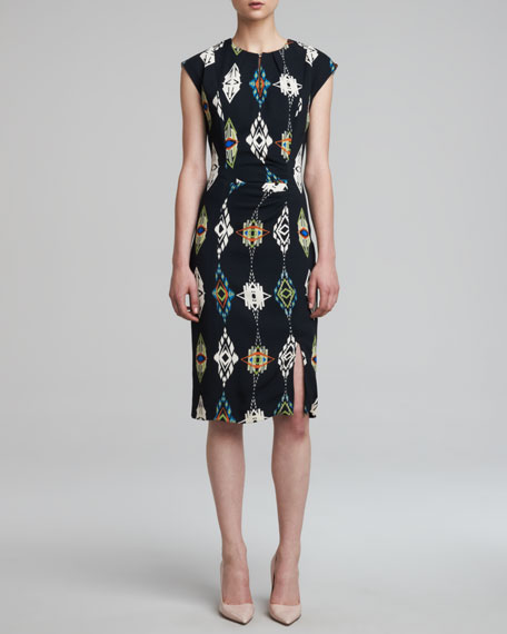 Ganado-Print Keyhole Dress, Black