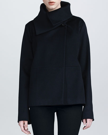 Exaggerated-Collar Wool Swing Jacket