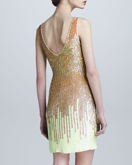 Gradient Sequined Shift Dress, Yellow