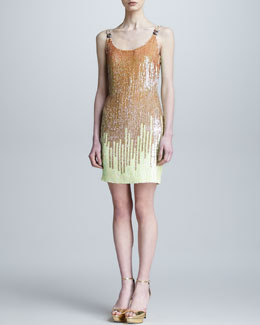 Versace Collection Gradient Sequined Shift Dress, Yellow