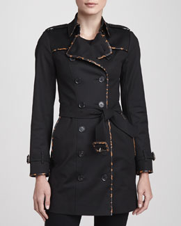 Burberry London Animal-Print Trim Trenchcoat, Black/Camel