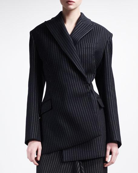 Pinstripe Asymmetric Jacket