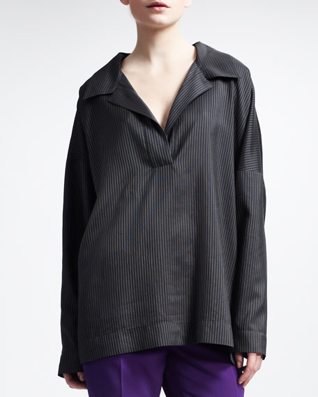 Oversize Collared Striped Tunic