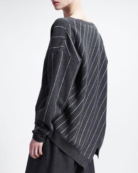 V Neck Sweater with Intarsia Stripes