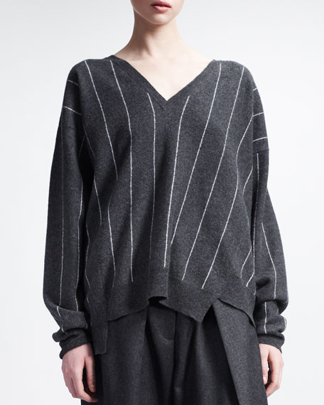 V Neck Sweater with Intarsia Stripes