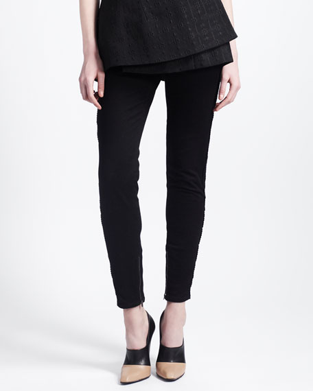 Skinny Lace-Stripe Jeans with Ankle Zip