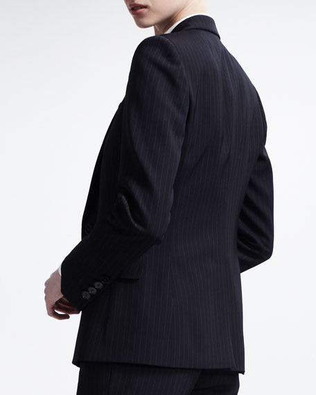 Pinstripe Single-Breasted Blazer