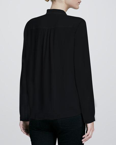 Bicolor Henley-Style Silk Blouse