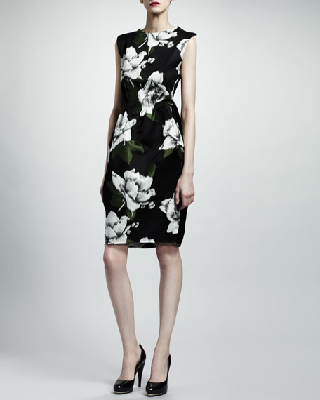 Open-Back Floral Dress, Navy/Gray