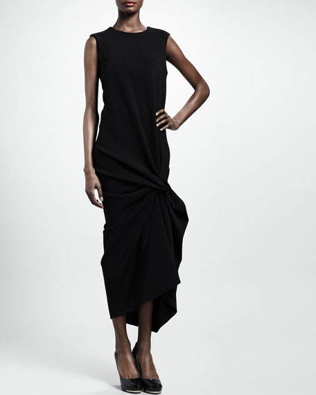 Pinched Mid-Calf Jersey Dress, Black