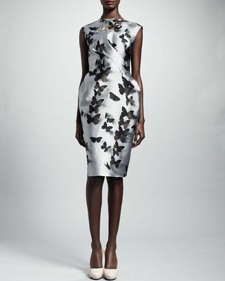 Butterfly-Print Duchesse Dress, Silver