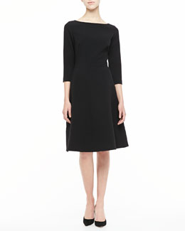 Lela Rose 3/4-Sleeve Boat-Neck A-Line Dress, Black