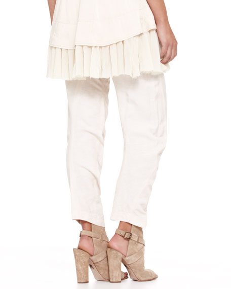 Cropped Slouchy Pants, Parchment