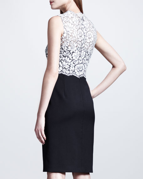 Sleeveless Tubino Lace-Top Dress, White/Black