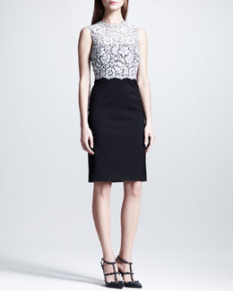 Valentino Sleeveless Tubino Lace-Top Dress, White/Black
