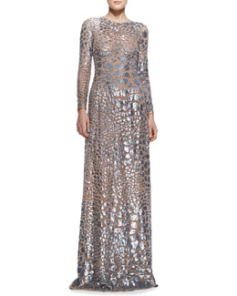 MICHAEL KORS Stretch-Tulle Beaded Gown