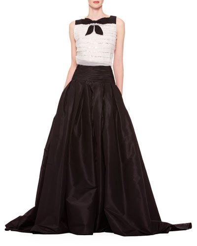 Long A-Line Silk Skirt  Black