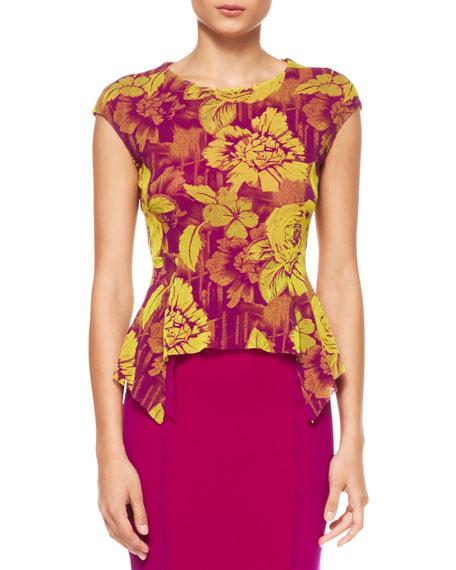 Floral-Print Peplum Top, Magenta/Yellow