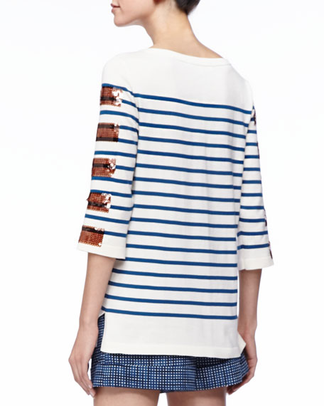 Sequined-Stripe Bateau Tunic