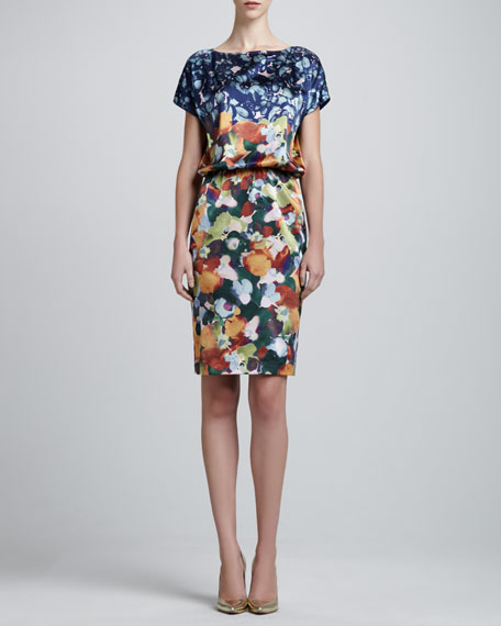 Floral Stretch Silk Charmeause Cap-Sleeve Dress, Dusty Peach/Multi